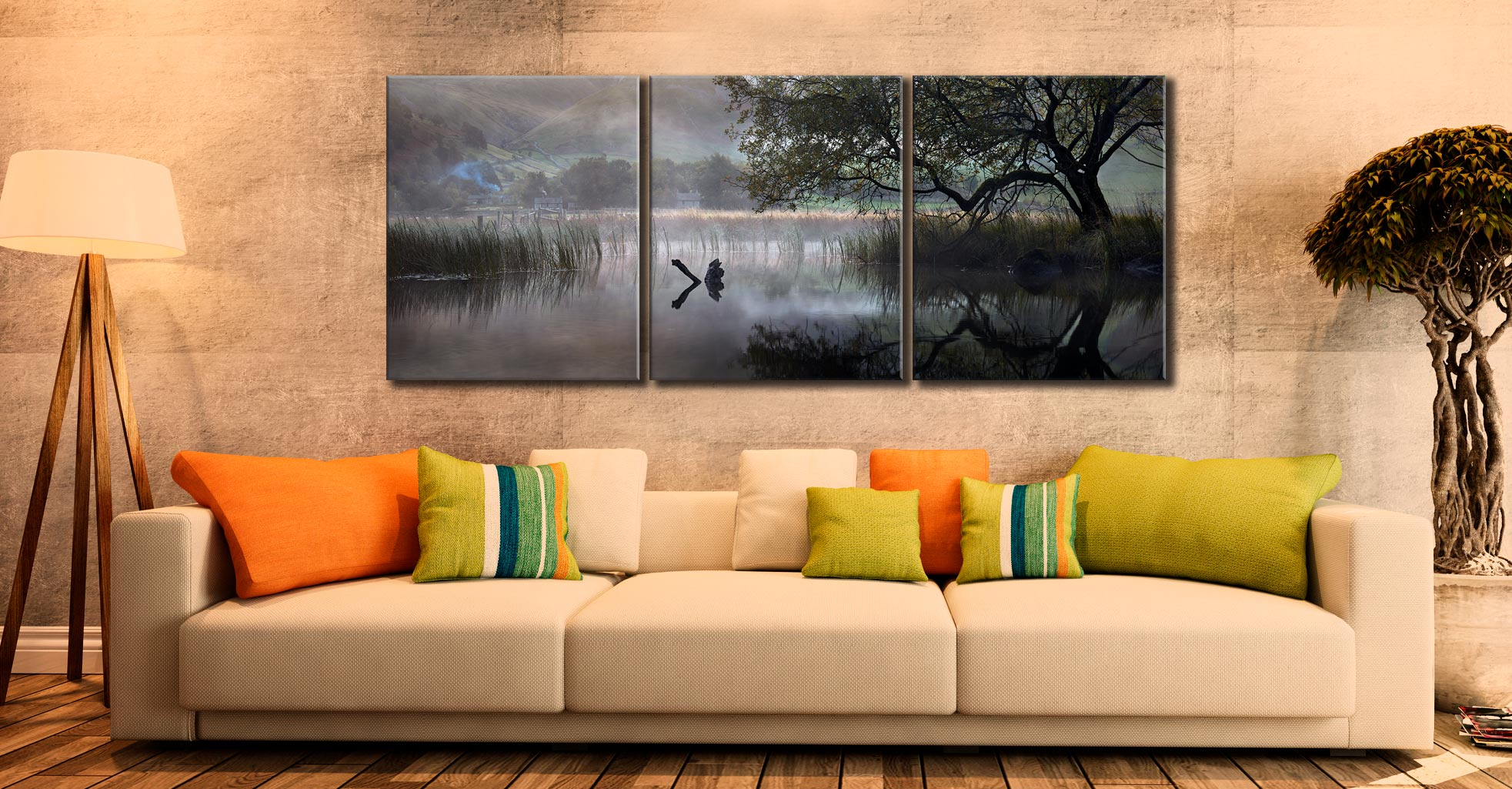 Hartsop Misty Morning - 3 Panel Canvas on Wall