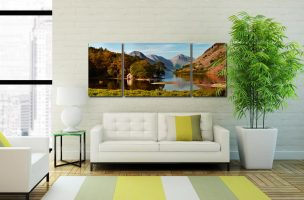 Wast Water Boathouse - 3 Panel Wide Mid Canvas on Wall