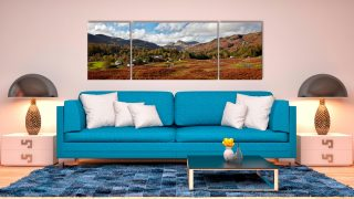 Elterwater Common - 3 Panel Wide Mid Canvas on Wall