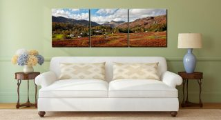 Elterwater Common - 3 Panel Canvas on Wall