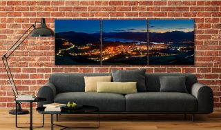 Keswick at Night - 3 Panel Canvas on Wall
