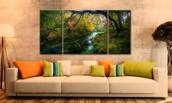 River Derwent in Autumn - 3 Panel Wide Centre Canvas on Wall