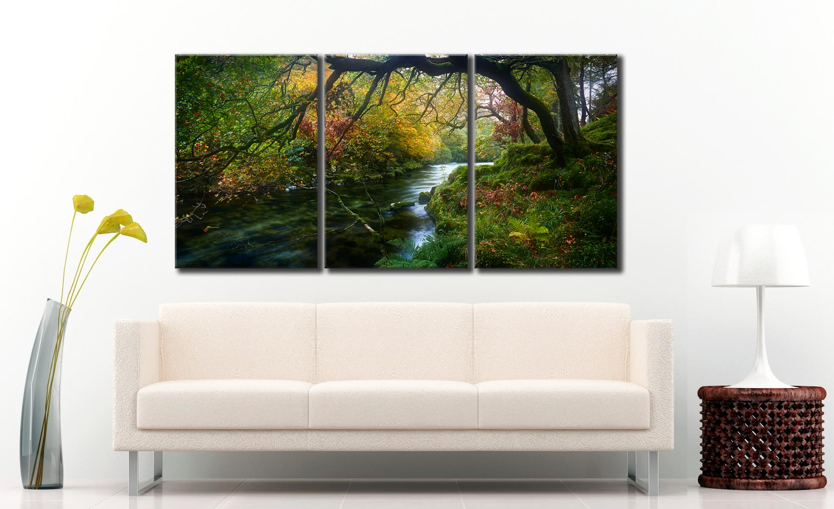 River Derwent in Autumn - 3 Panel Canvas on Wall