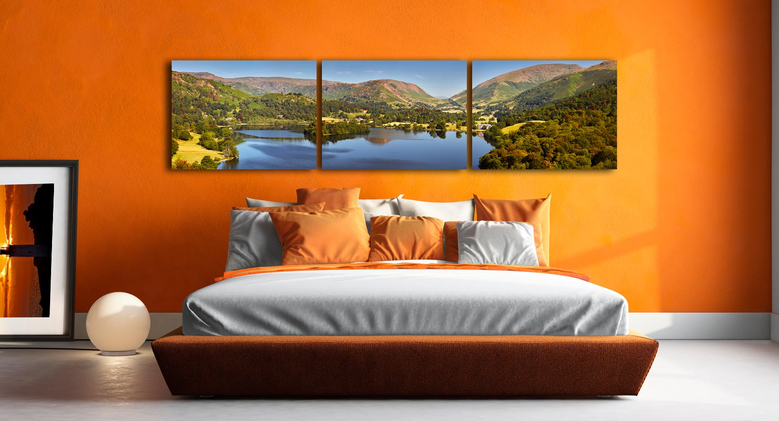 Grasmere Summer Panorama - 3 Panel Canvas on Wall