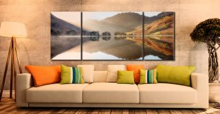 Bright Light on Buttermere - 3 Panel Wide Mid Canvas on Wall