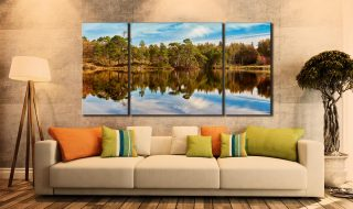 Tarn Hows Autumn Reflections - 3 Panel Wide Centre Canvas on Wall