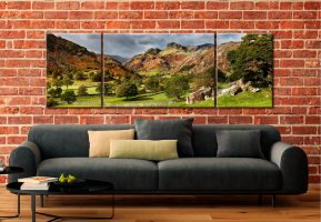 Summer Greens of Langdale - 3 Panel Wide Mid Canvas on Wall