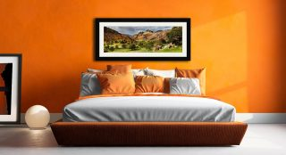 Summer Greens of Langdale - Framed Print with Mount on Wall