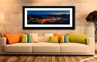 Keswick at Night - Framed Print with Mount on Wall