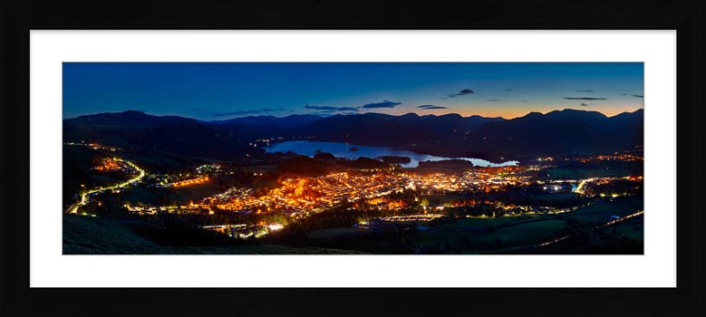 Keswick at Night - Framed Print with Mount