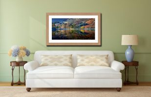 Buttermere Autumn Reflections - Framed Print with Mount on Wall