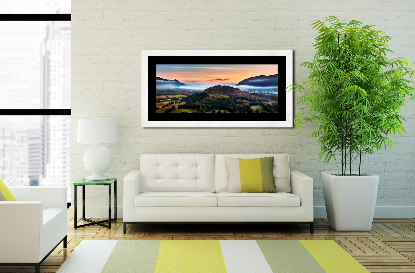 Dawn Mists Over Bassenthwaite Lake - Framed Print with Mount on Wall