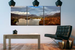 Clouds Mist Rainbow Grasmere - 3 Panel Canvas on Wall