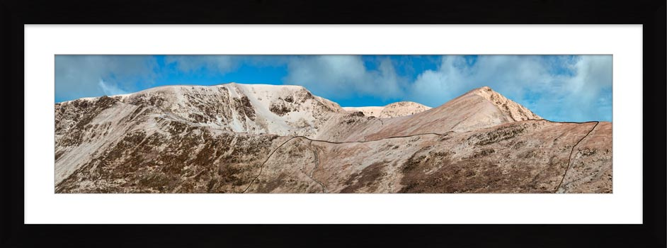 Snow Capped Helvellyn Mountains - Framed Print with Mount