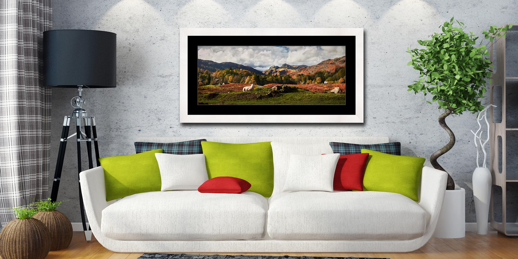 Sheep on Elterwater Common - Framed Print with Mount on Wall