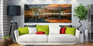 Golden Buttermere - 3 Panel Wide Mid Canvas on Wall