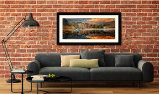 Golden Buttermere - Framed Print with Mount on Wall