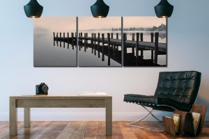 Coniston Jetty - 3 Panel Canvas on Wall