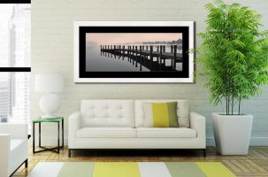 Coniston Jetty - Framed Print with Mount on Wall