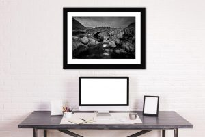Stockley Bridge – Black White Framed with Mount on Wall
