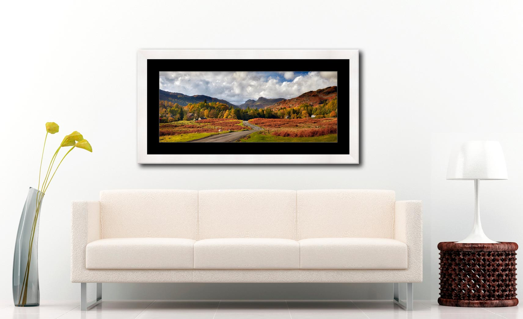 Elterwater to Langdale - Framed Print with Mount on Wall