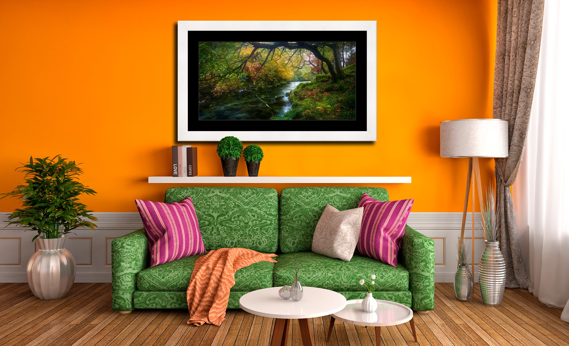 River Derwent in Autumn - Framed Print with Mount on Wall