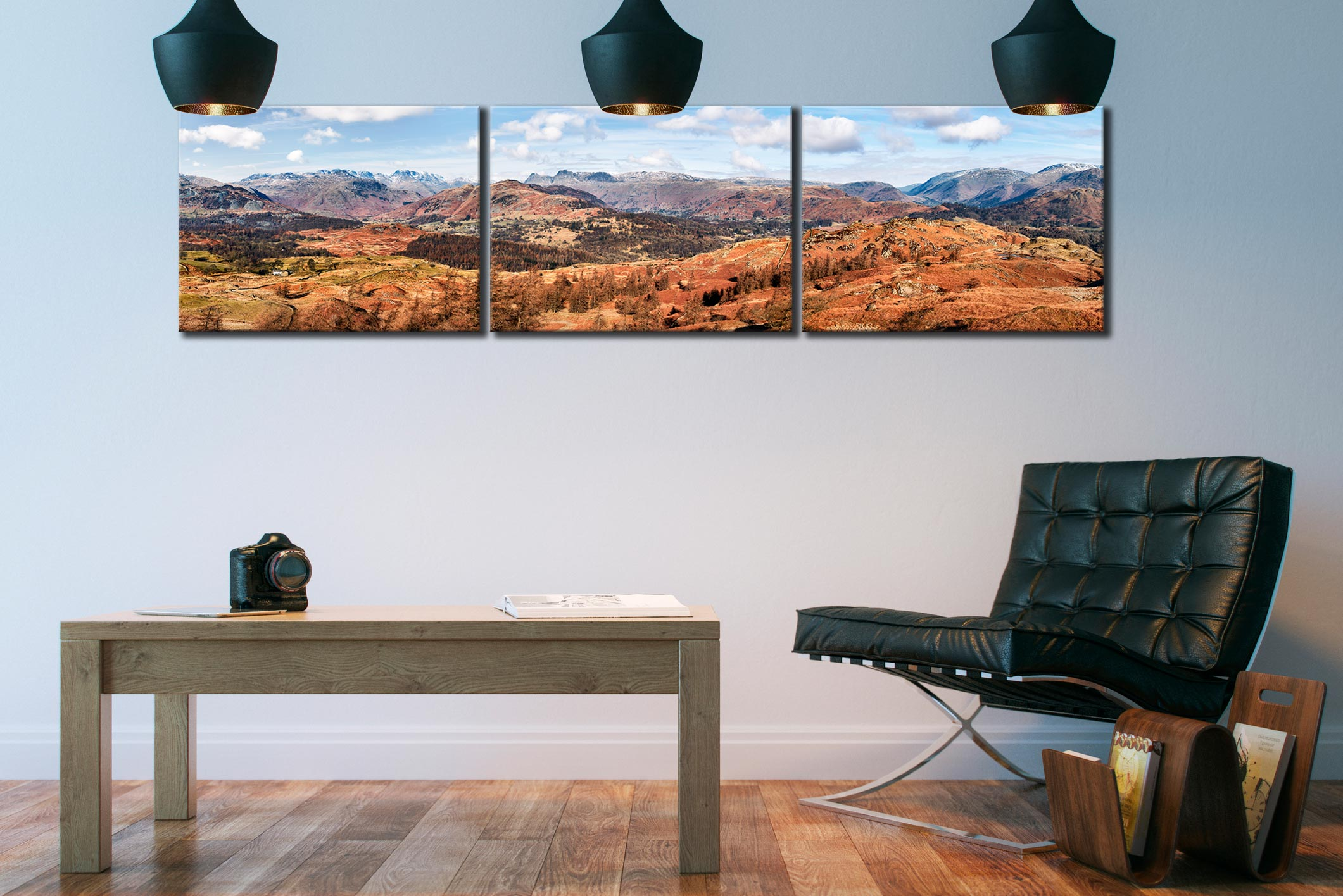 The Langdale Mountains - 3 Panel Canvas on Wall