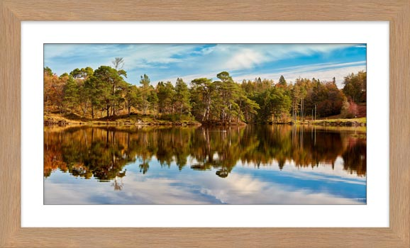 Tarn Hows Autumn Reflections - Framed Print with Mount