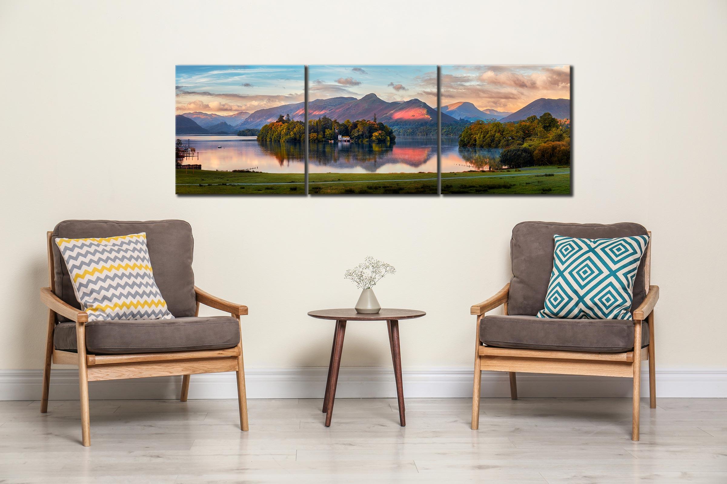 Derwent Water First Light - 3 Panel Canvas on Wall