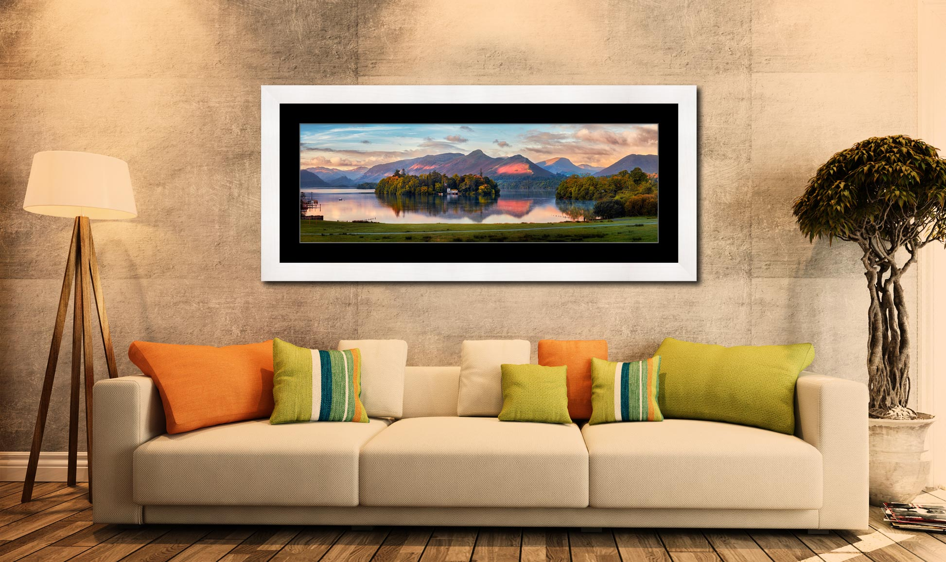 Derwent Water First Light - Framed Print with Mount on Wall