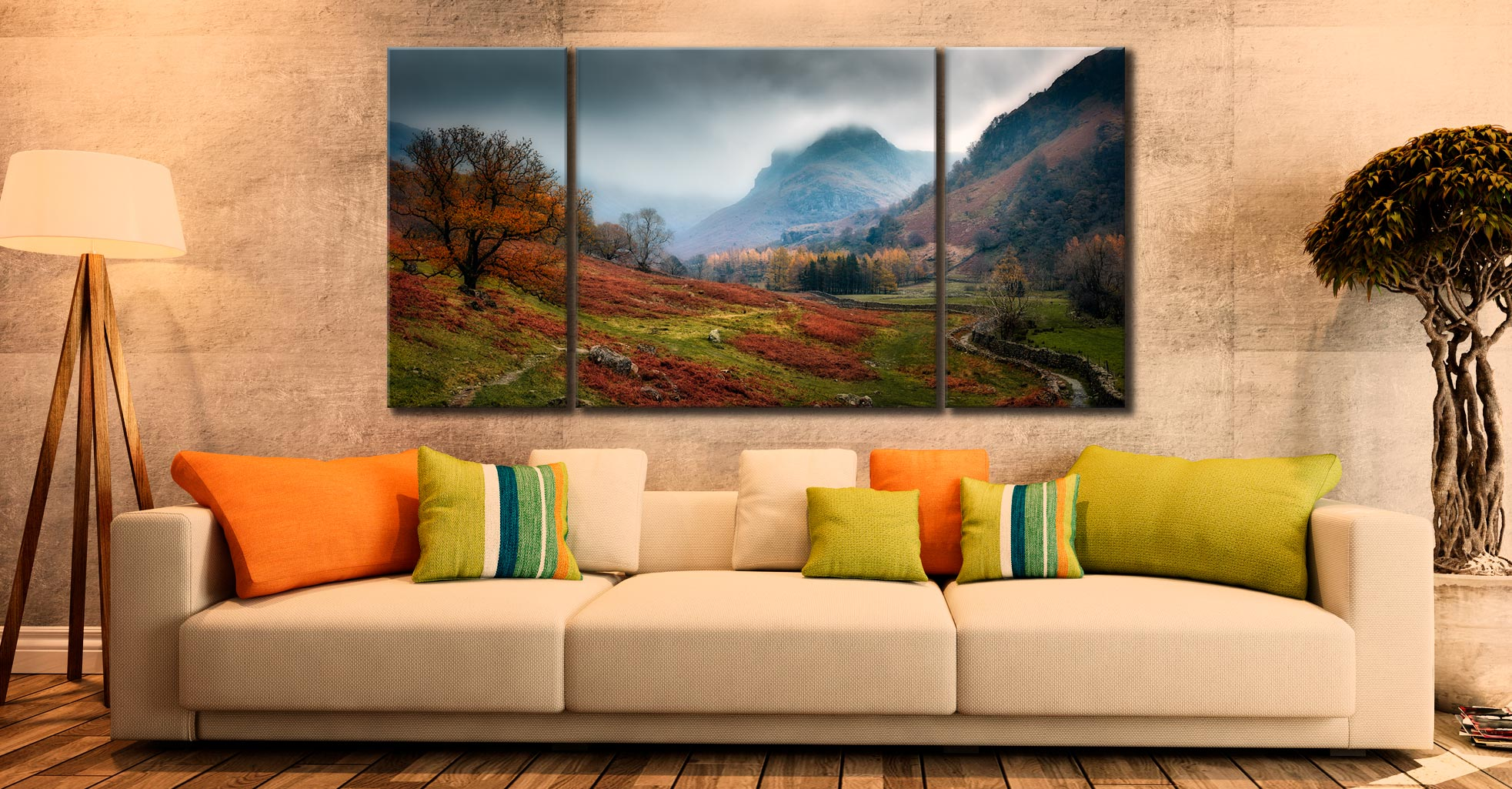 Dark Autumn at Eagle Crag - 3 Panel Wide Centre Canvas on Wall