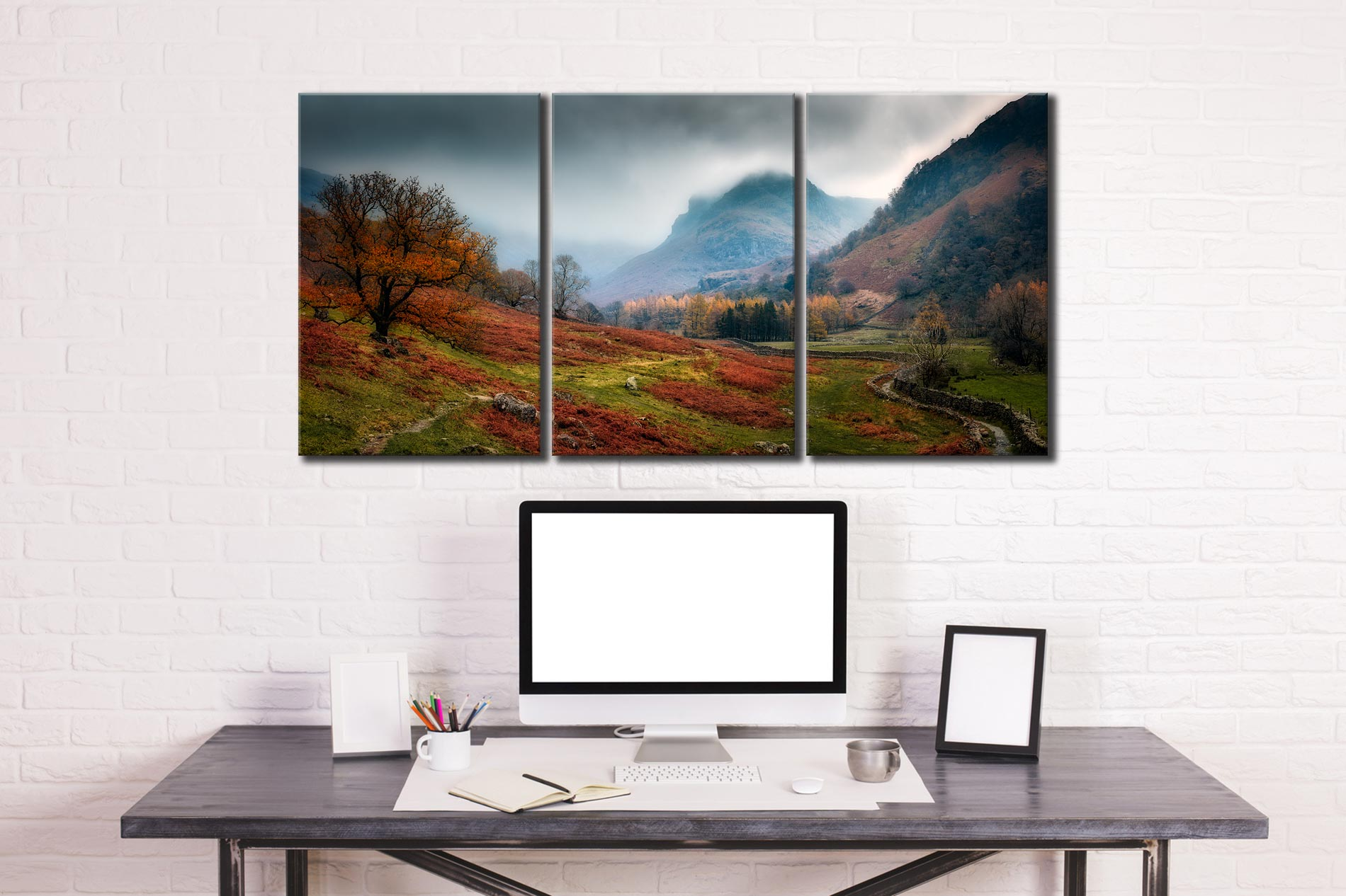 Dark Autumn at Eagle Crag - 3 Panel Canvas on Wall
