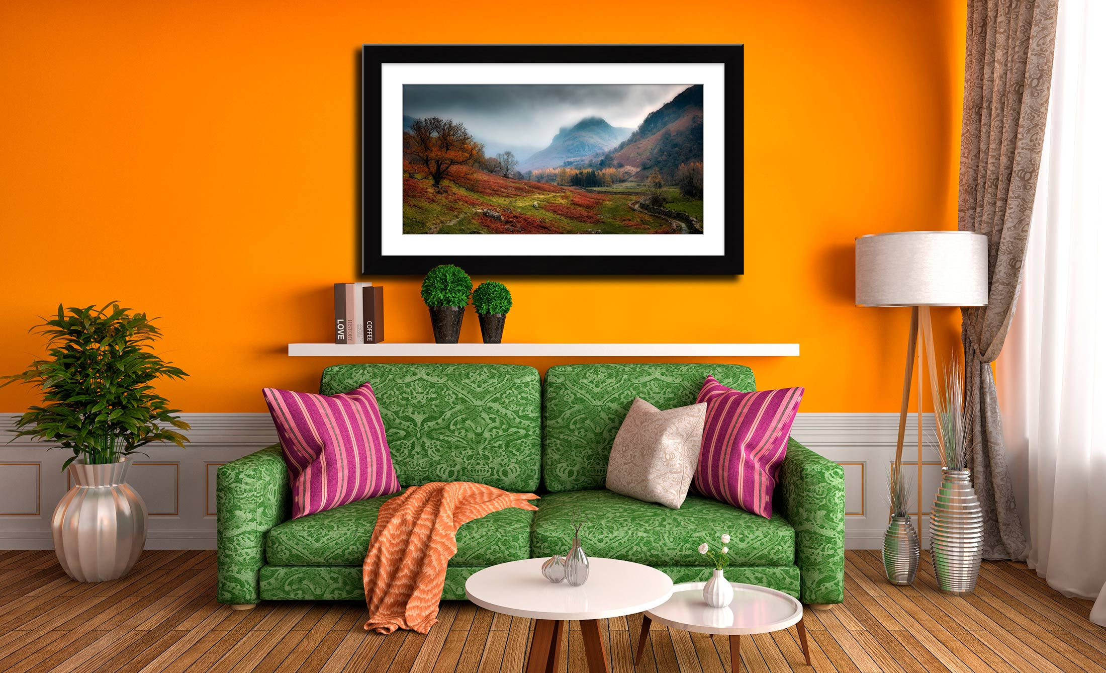 Dark Autumn at Eagle Crag - Framed Print with Mount on Wall