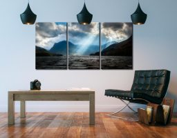 Sunbeams Over Buttermere - 3 Panel Canvas on Wall