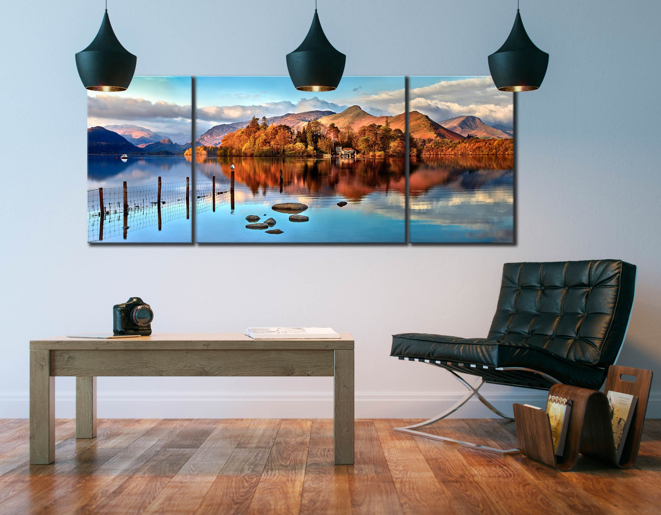 Derwent Water Panorama - 3 Panel Wide Mid Canvas on Wall