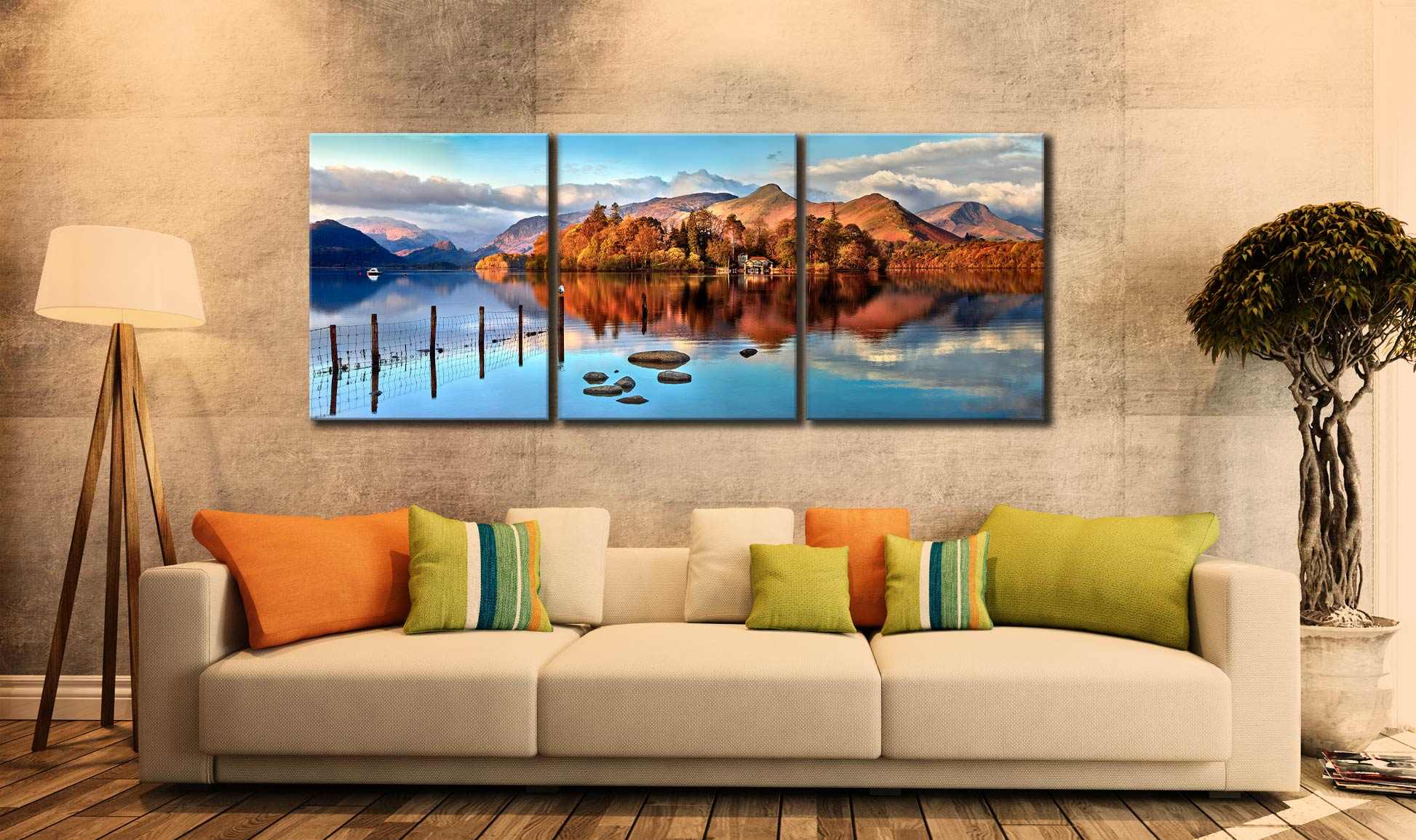 Derwent Water Panorama - UltraHD Print with Aluminium Backing on Wall
