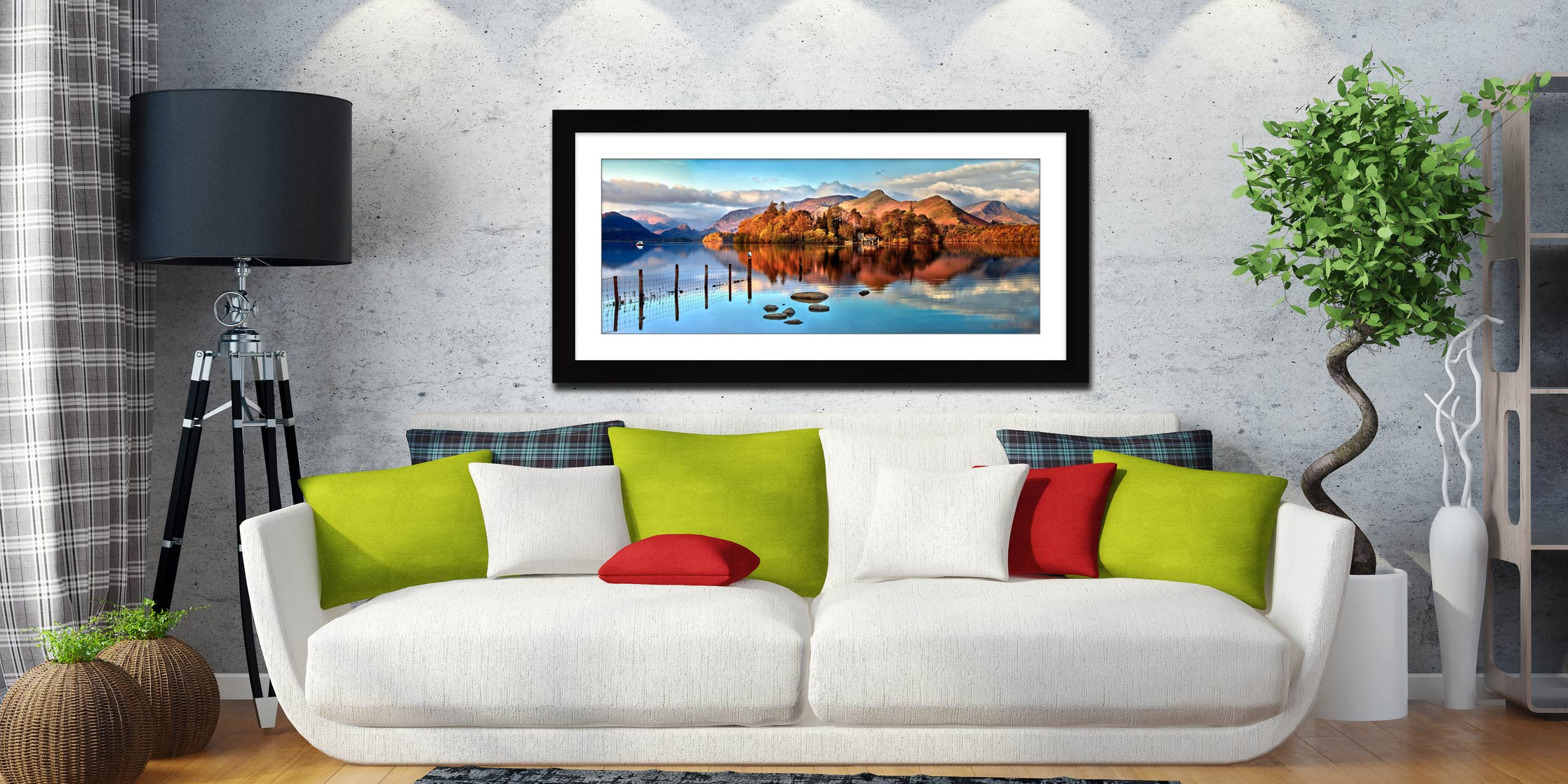 Derwent Water Panorama - Framed Print with Mount on Wall