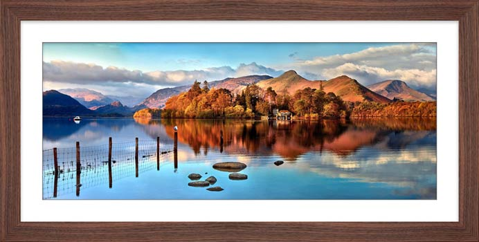 Derwent Water Panorama - Framed Print with Mount