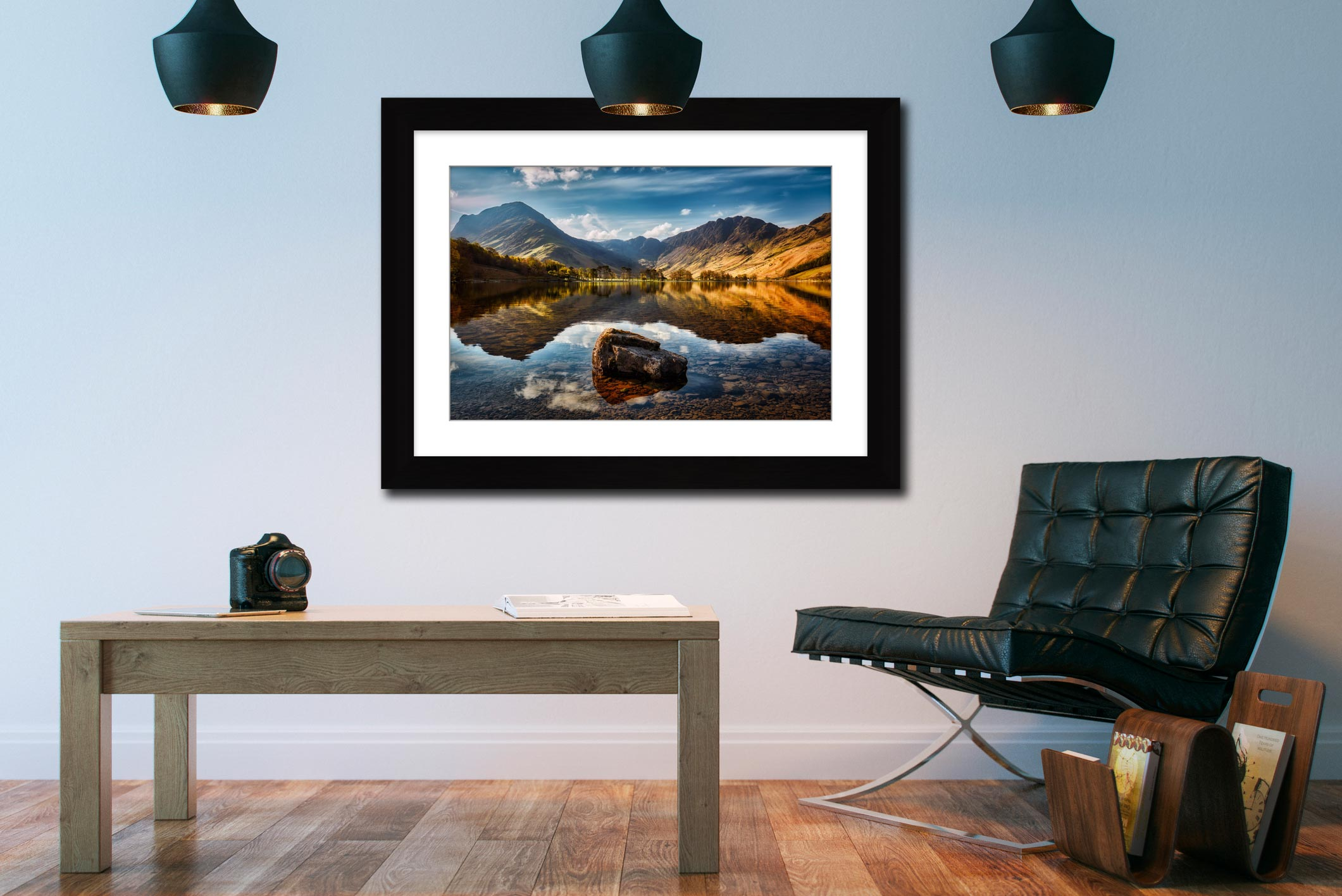 The Buttermere Rock – Black White Framed with Mount on Wall