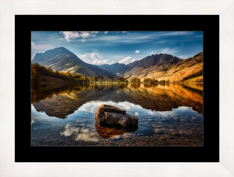 The Buttermere Rock – Black White Framed with Mount
