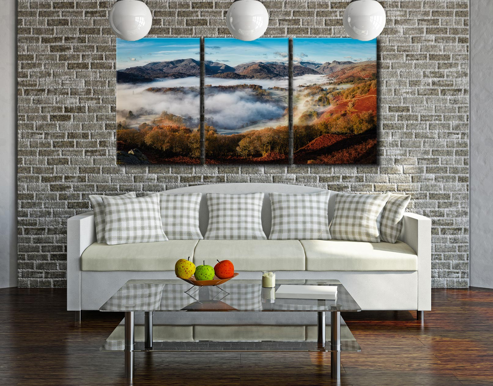 Great Langdale Misty Morning - 3 Panel Canvas on Wall