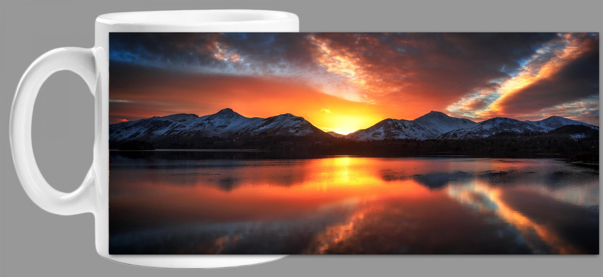 Winter Sunset Over Derwent Water Mug Wrap
