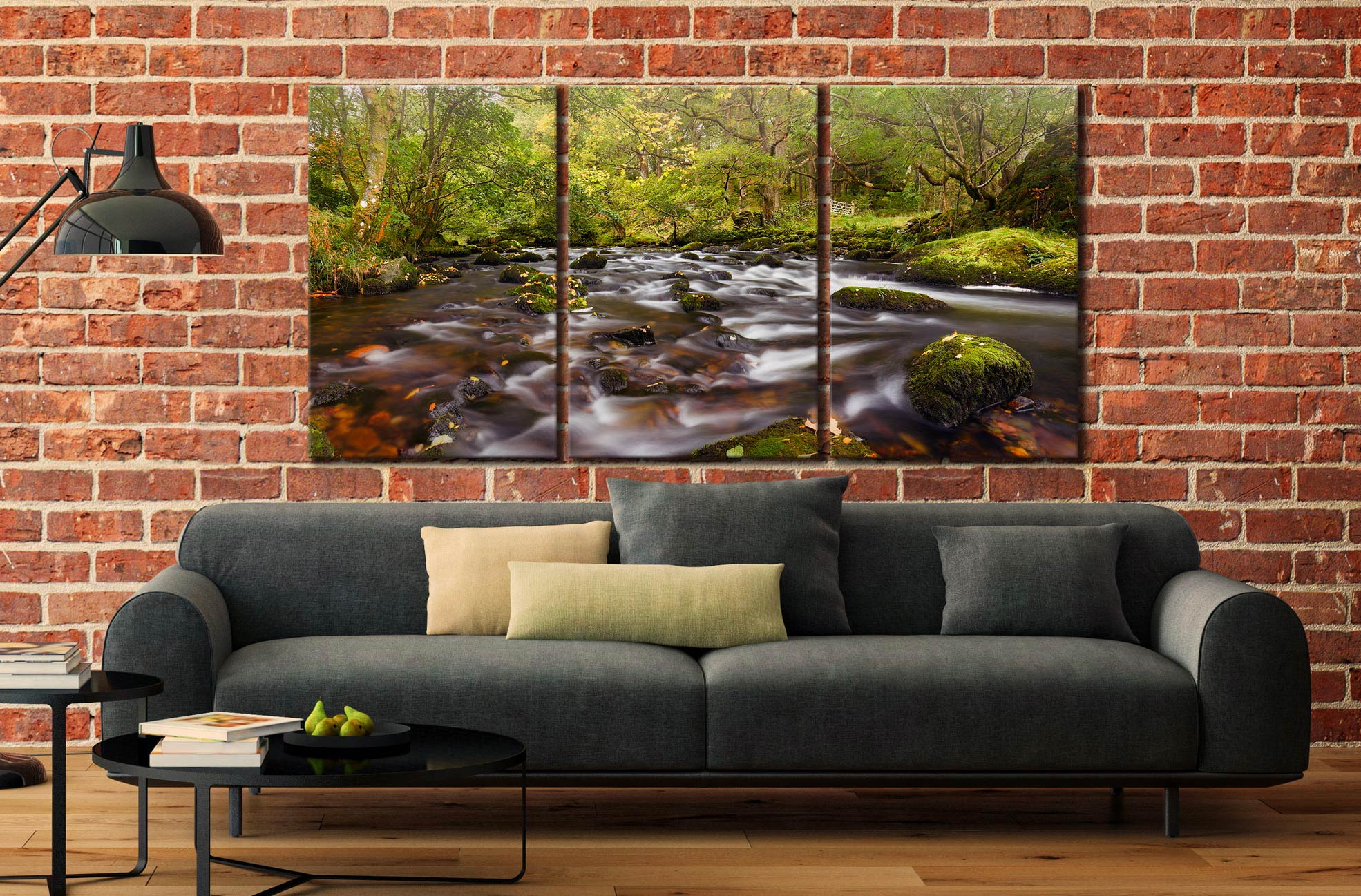 Start of Autumn River Rothay - 3 Panel Canvas on Wall