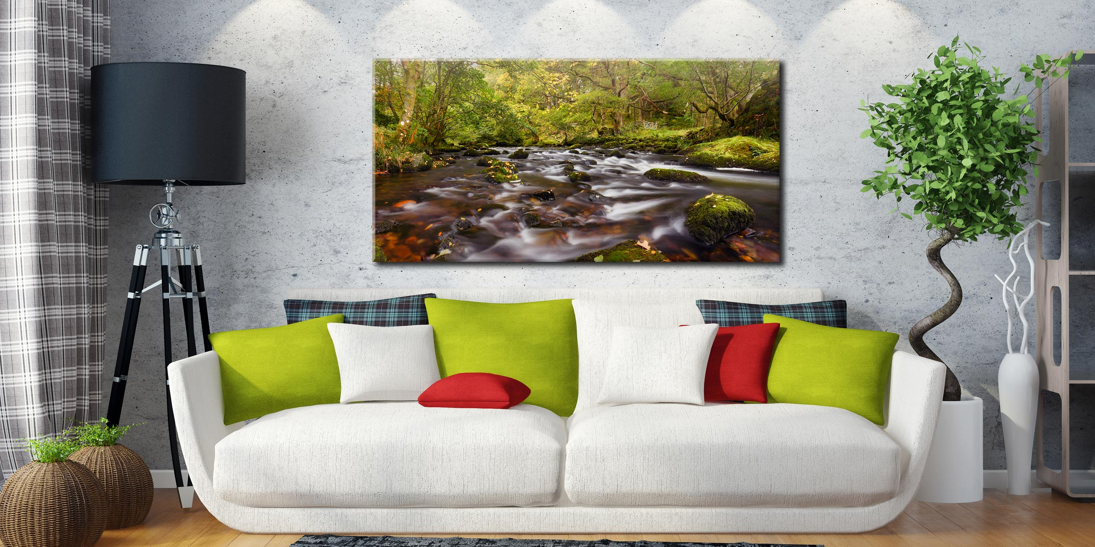 Start of Autumn River Rothay - Canvas Print on Wall