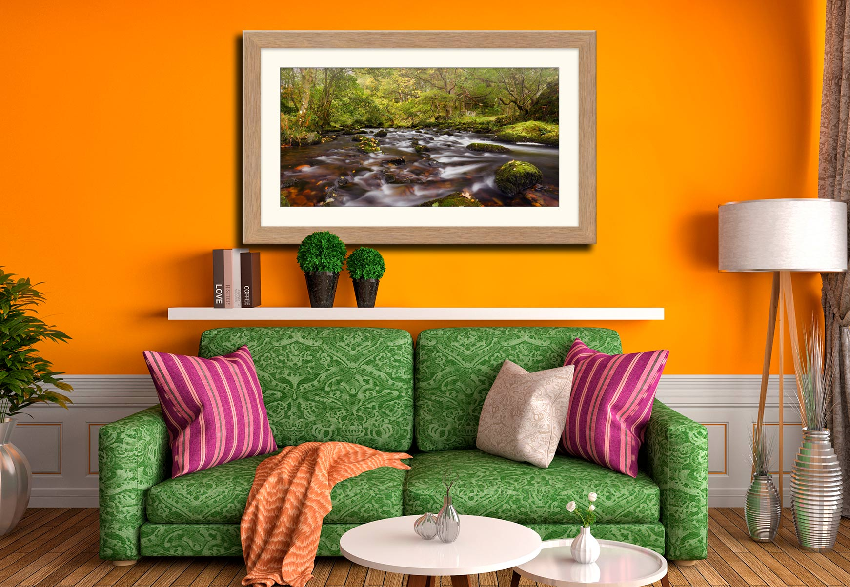 Start of Autumn River Rothay - Framed Print with Mount on Wall