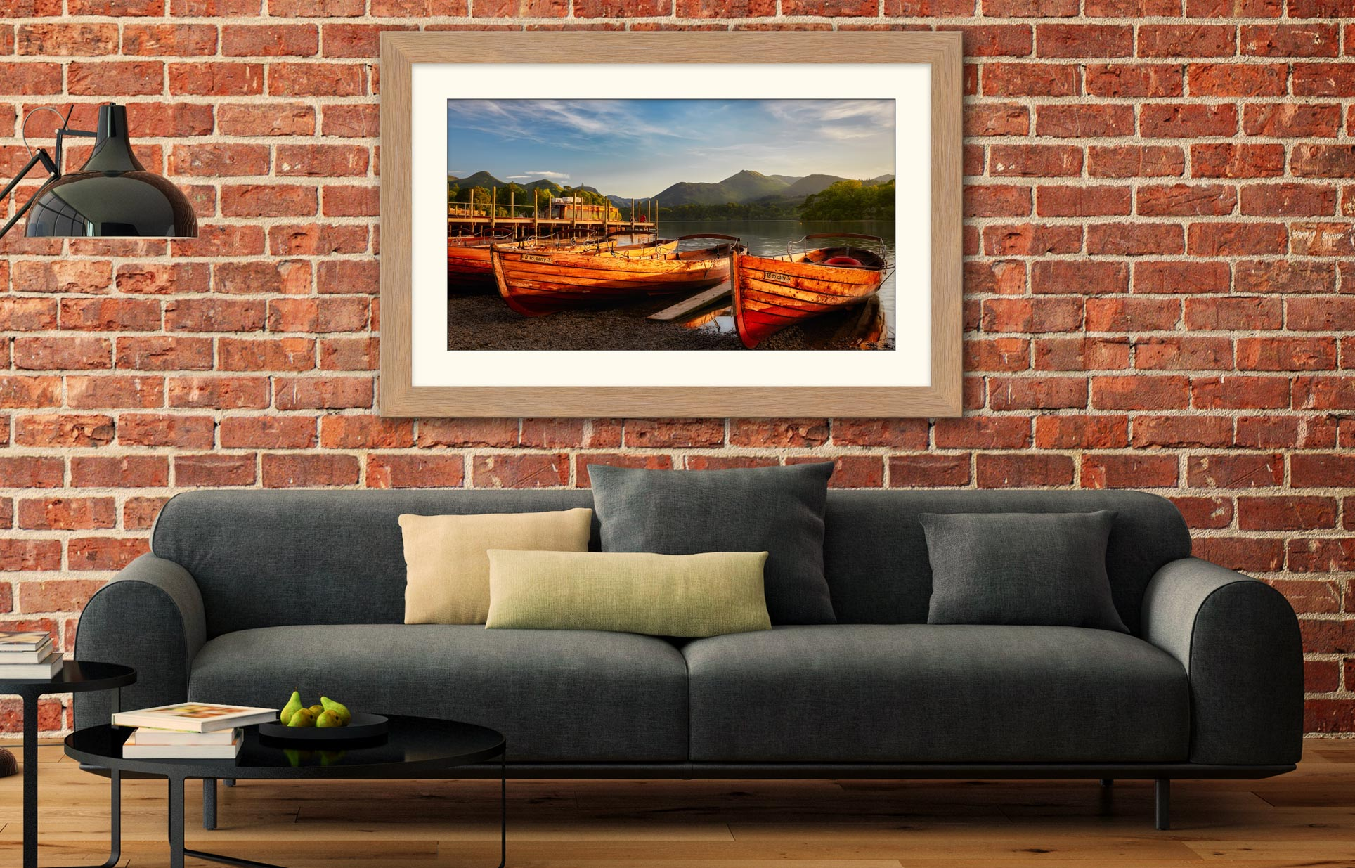 Golden Boats Keswick - Framed Print with Mount on Wall