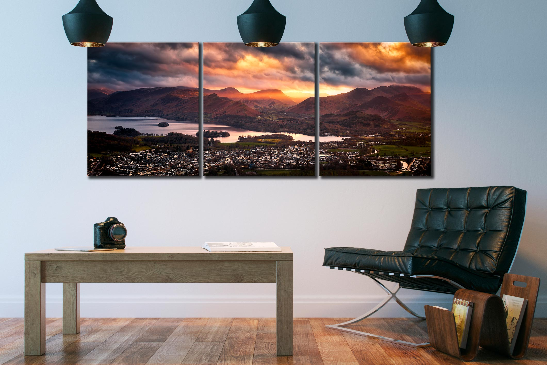 Sun Rays Over Cat Bells - 3 Panel Canvas on Wall