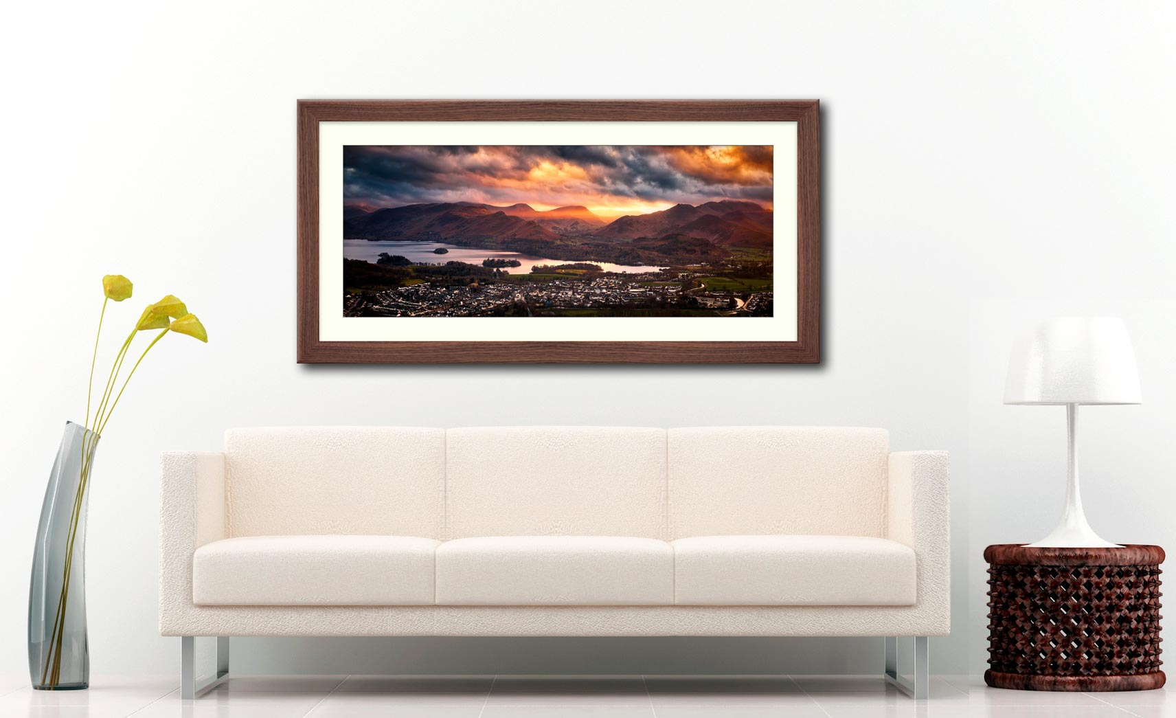 Sun Rays Over Cat Bells - Framed Print with Mount on Wall