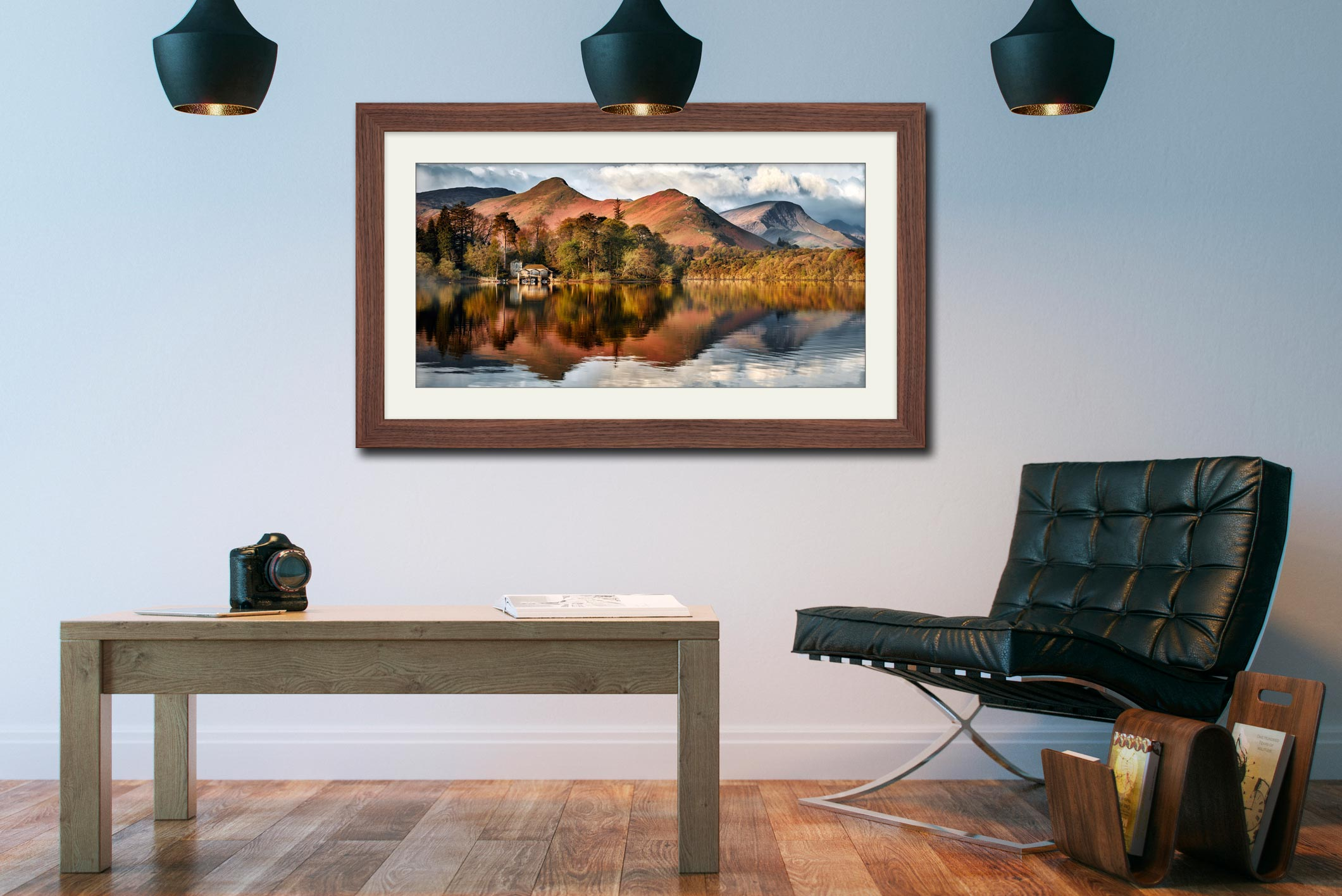 Derwent Boathouse and Cat Bells - Framed Print with Mount on Wall