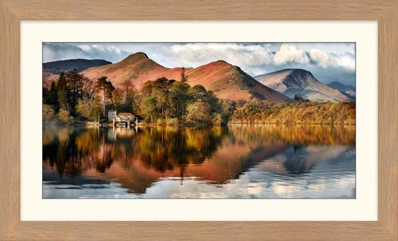 Derwent Boathouse and Cat Bells - Framed Print with Mount